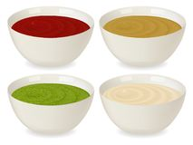A set of porcelain sauceboat with a variety of sauces. Ketchup, mustard, pesto, mayonnaise. On white background in realistic style. Vector illustration Royalty Free Stock Photos