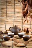 Set Porcelanowy herbaciany tło Zdjęcie Royalty Free