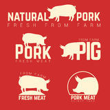 Set of pork emblems, logotypes and labels isolated Stock Photos