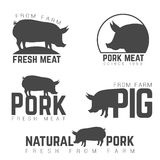 Set of pork emblems, logotypes and labels isolated Stock Image