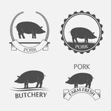 Set of pork label Stock Photography