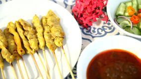 Set pork satay cooked stock video footage
