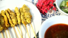 Set pork satay cooked stock video