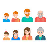 Set of portaraits showing the process of aging from child to senior Royalty Free Stock Photos
