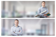 Set portrait of young businessman Royalty Free Stock Photos