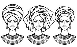 Set of portraits the African women in various turbans. Royalty Free Stock Photography