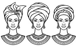 Set of portraits the African women in various turbans. Monochrome linear drawing. Vector illustration isolated on a white background. Print, poster, t-shirt stock illustration