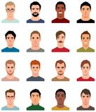 Set of vector avatars of men in a flat style vector illustration