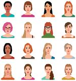 Set of vector avatars of women in a flat style stock illustration