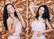 Set of portraits. Beautiful young woman in evening dress with gold jewelry on golden background. Stock Photography