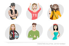 A set of portraits in Cartoon style Stock Image