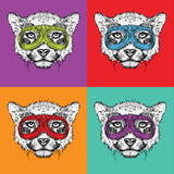 A set of portraits of cheetah in motorcycle glasses. Pop art style vector illustration. Royalty Free Stock Photos