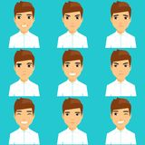 Set of portraits of expressing emotions. Young guy lifestyle. Angry, winking, happy, puzzled, unhappy Royalty Free Stock Photo