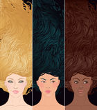 Set of portraits multi ehtnic woman. Beauty Salon: Set of portraits of pretty young woman with beautiful  hair (african-american, asian, and caucasian girl) Royalty Free Stock Image