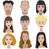 Set of portraits of people. Full face Royalty Free Stock Photos