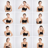Set of portraits  woman with different emotions and gestures Stock Image