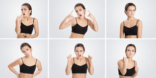 Set of portraits  woman with different emotions and gestures Royalty Free Stock Image