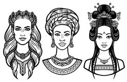 Set of portraits young beautiful women of the different countries. Vector illustration isolated on a white background. Print, poster, emblem, card, t-shirt Stock Illustration