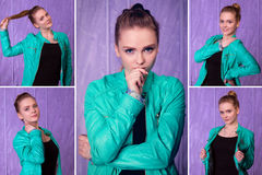 Set of portraits of a young woman in blue jacket Royalty Free Stock Image
