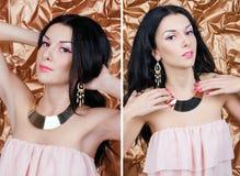 Set portrety Piękna młoda kobieta w wieczór sukni z złocistą biżuterią na złotym tle Zdjęcie Royalty Free