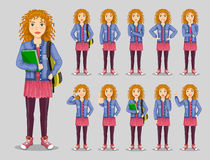 Set of poses and emotions. Teenage girl in a stylish dress royalty free illustration