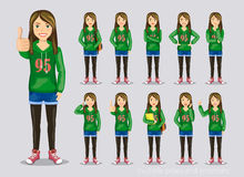 Set of poses and emotions. Teenage girl in a stylish dress stock illustration