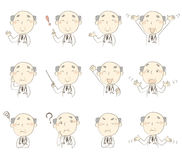 Set of poses, middle age doctor Royalty Free Stock Photo