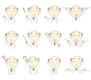 Set of poses, middle age doctor wearing white robe. Set of poses, middle age man wearing white gown Stock Image