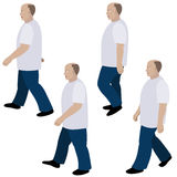 Set of position a person walking Stock Photos