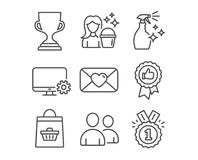 Positive feedback, Cleaning and Award cup icons. Users, Monitor settings and Valentine signs. Set of Positive feedback, Cleaning and Award cup icons. Users Stock Images