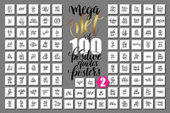 Set of 100 positive quotes posters about family, birthday party. Mega set of 100 positive quotes posters about family, birthday party and baby born holiday Royalty Free Illustration