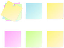 Set of post it. Four different colors of post it in white background Stock Image
