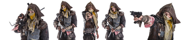 Set of post apocalypse survivors. Set of nuclear post apocalypse survivors with homemade weapons aiming a gun on white background. Life after doomsday concept Stock Images