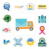 Set of post car, camper, program management, skull and crossbones, real state, breast cancer ribbon, 15 years celebration, educati. Set Of 13 simple  icons such Royalty Free Stock Photos