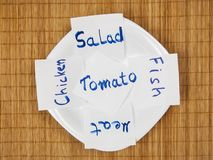 Set of post it notes with common phrases food Stock Photography