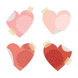 Set of post self stick notes papers, heart shape,  Stock Images