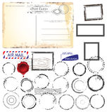 Set of post stamp symbols,  illustration Royalty Free Stock Photo
