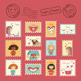 Set of post stamps. For Valentines day Stock Image