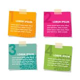 Set of post it stick notes papers,  illustration i Royalty Free Stock Photography