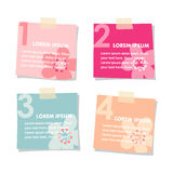 Set of post sticky notes papers, spring floral design. Illustration isolated on white background Stock Images