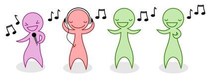 Kreskówek muzyczni ludzie ustawiający Obraz Royalty Free