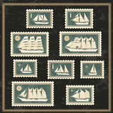 Set of postage stamp with sailing boat Royalty Free Stock Photography
