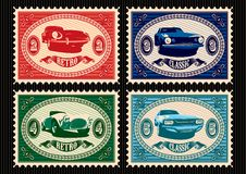 Set of postage stamps with cars Royalty Free Stock Images