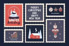 Set of postage stamps dedicated to the Christmas holidays and the New Year. royalty free illustration