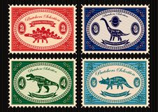 Set of postage stamps dinosaurs and their cutting scheme Royalty Free Stock Photos