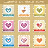 Set of 9 postage stamps with hearts. Postage stamps with cute  hearts Stock Photo