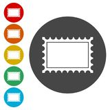 Set of a postage stamps icons on white vector illustration