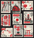 Set of postage stamps on the Japanese theme Royalty Free Stock Photos