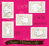 Set of postage stamps about love. Royalty Free Stock Photo