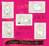 Set of postage stamps about love. Royalty Free Stock Images